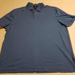Calvin Klein Blue Striped Short Slv Polo Shirt XL